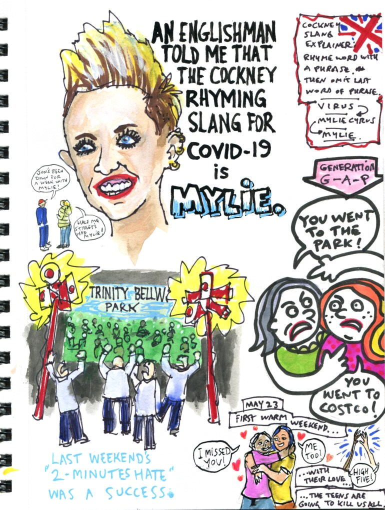My Pandemic Diary page 48 Mylie, 2 minutes hate, Trinity Bellwoods, generation gap