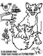 Baby foxes colouring page
