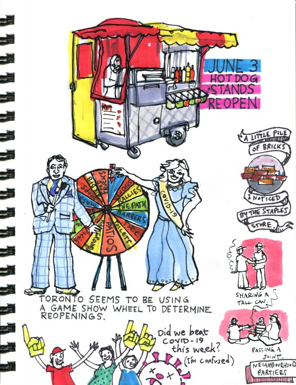 My Pandemic Diary page 54 Hot dog carts, Toronto reopening, is Covid-19 over?