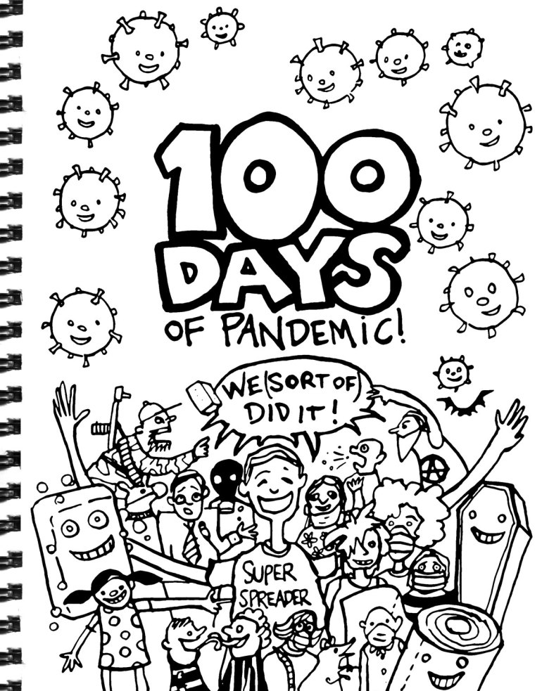 My Pandemic Diary page 58 100 Days, colouring page, mascots