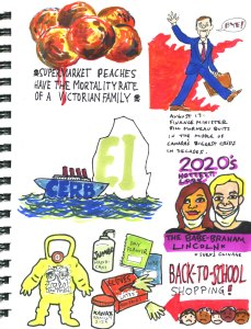 My Pandemic Diary 2 page 12 Bill Morneau , Cerb, back to school, peaches