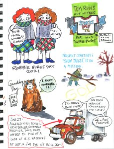 My Pandemic Diary 2, page 31, Robbie Burns Day, Groundhog Day, vaccines, Doug Ford