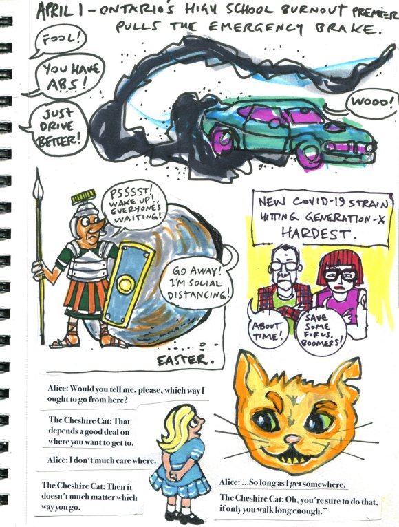 My Pandemic Diary 2 page 46 Doug Ford, Easter, Gen X, Alice in Wonderland