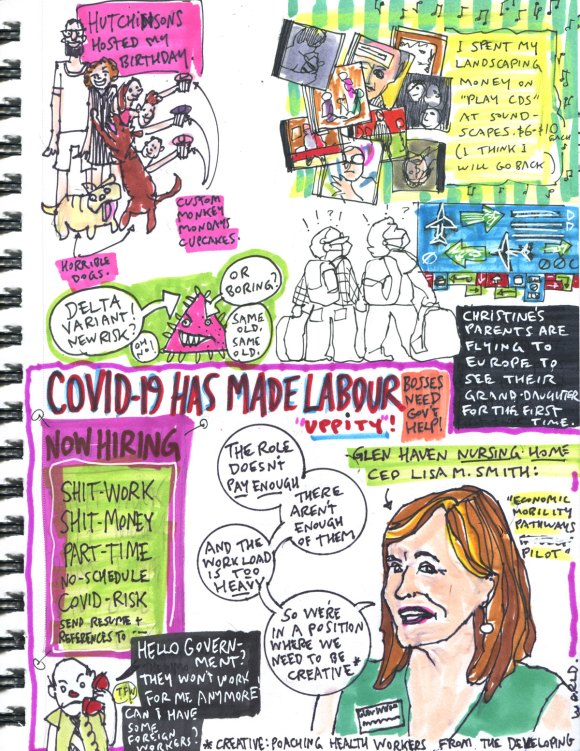 My Pandemic Diary part 3 Page 13 Delta, worker shortage, CDs, travel
