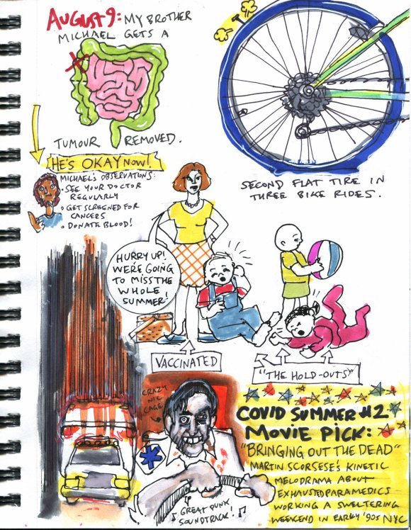 My Pandemic Diary part 3 Page 14 cancer, tantrums, flat tire, bringing out the dead