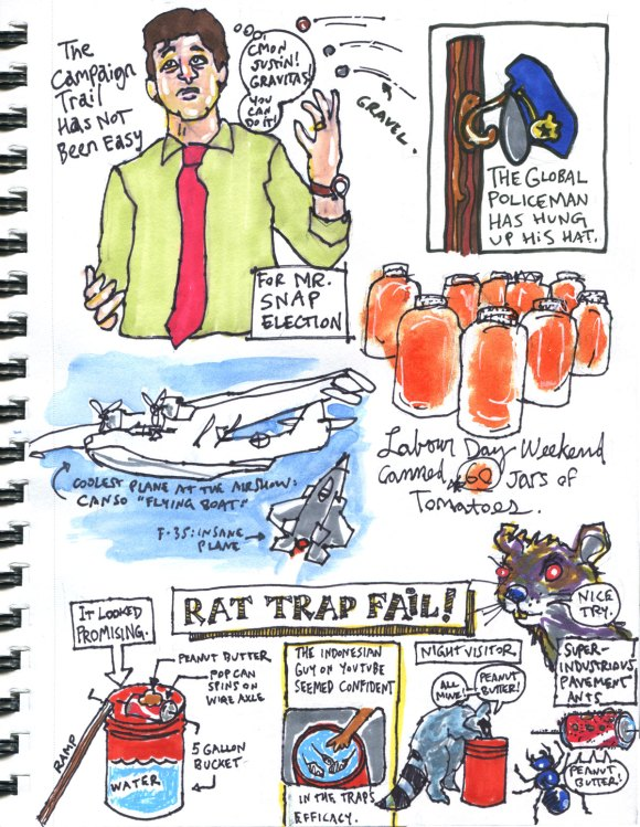 My Pandemic Diary part 3 Page 19 Trudeau campaign, Afghanistan, air show, tomatoes, rat trap