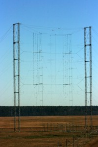 One of the 19 curtain antennas on the campus of the Edward R. Murrow Transmitting Site (Click to enlarge)