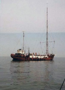 The MV Mi Amigo, c. 1974, which had been used as the home of Radio Caroline South from 1964-1967 (Photo: Albertoke from NL)