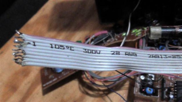 Showing soldered open ends of the computer cable.