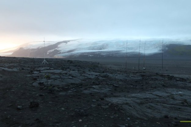 """Antennas with a clearing"" on Heard Island (Photo by Bill, AE0EE)"