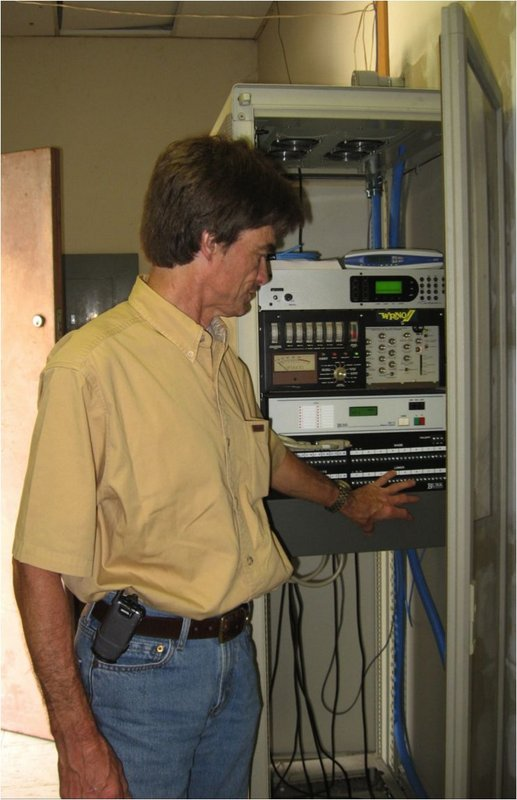 Figure 10. The audio and control rack. Audio is fed via a T1 line from Texas to the Telos ISDN decoder, then to the Optimod 9000A audio processor (an original from the Joe Costello days). The remote control is a Burk unit that allows the studio folks in Texas to control the transmitter.
