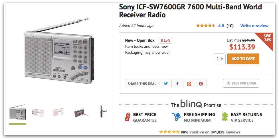 Holiday Deals: Open Box Sony ICF-SW7600GR for $113 via
