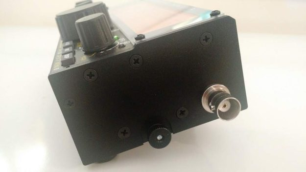 The BNC antenna jack is located on the right side of the KX2.