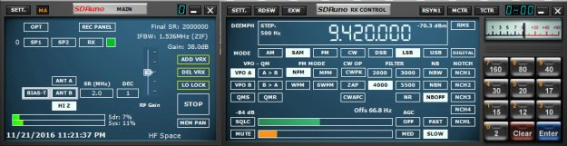 Current SDRuno users will note the different antenna and filter options with the RSP2 which works natively with the latest versions of SDRuno