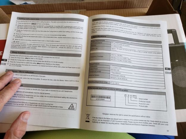 Photo of the radio manual.
