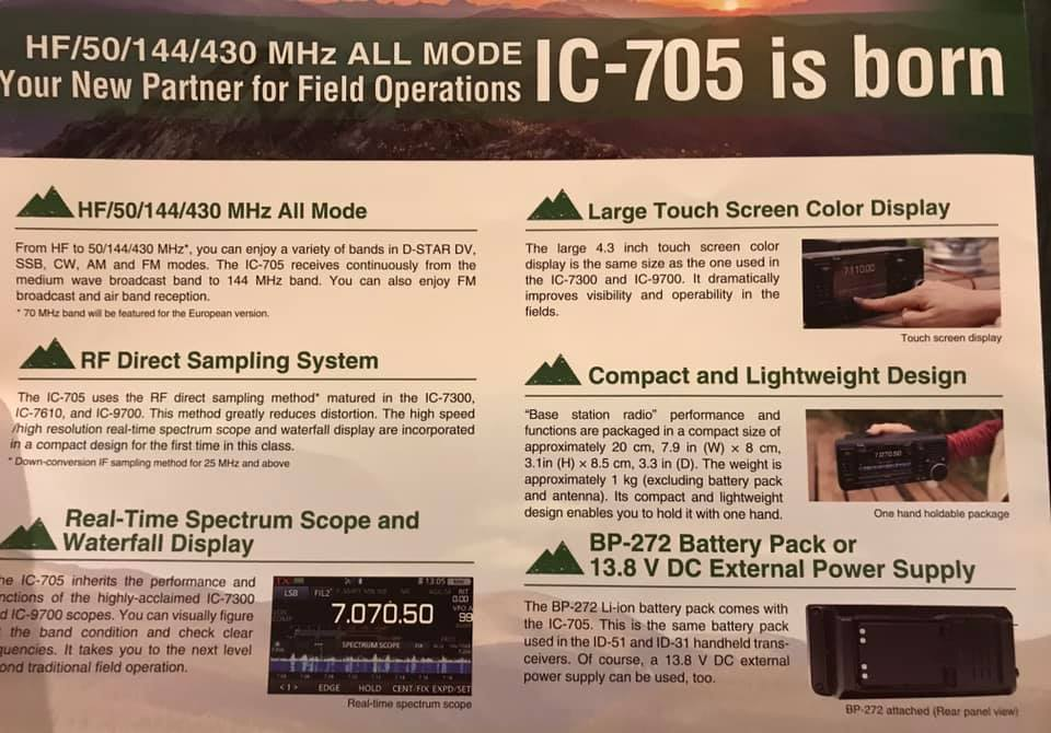The new Icom IC-705 QRP portable, backpackable transceiver