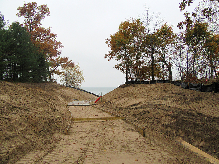 Work begins on the new barrier-free beach access at Pilgrim Haven Natural Area, fall 2016.