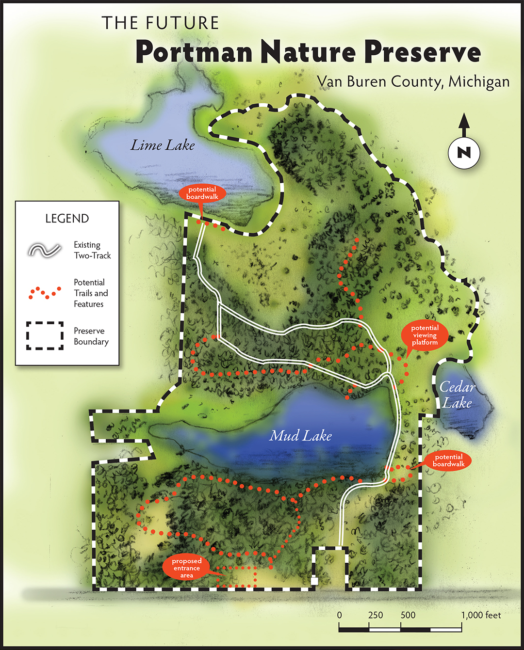 Proposed and existent trails at the future Portman Nature Preserve.