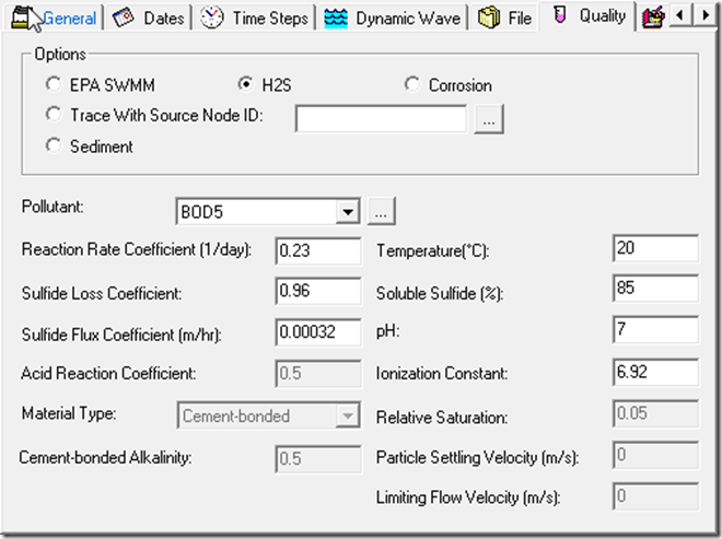 InfoSWMM or H2OMap SWMM S and BOD5 Parameters