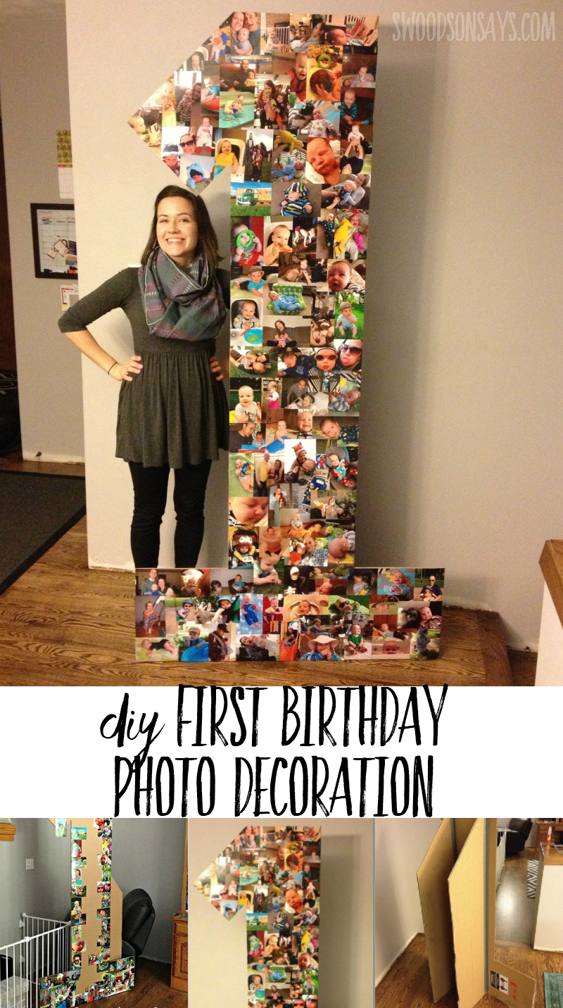 How to make a cheap first birthday party decoration from cardboard & photo prints! Easy, fast, and cheap - this first birthday photo display idea is also creative! #partydecorations #firstbirthday