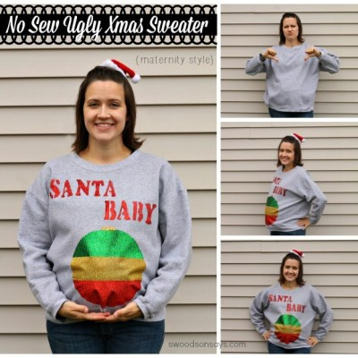 DIY Ugly Christmas Maternity Sweater