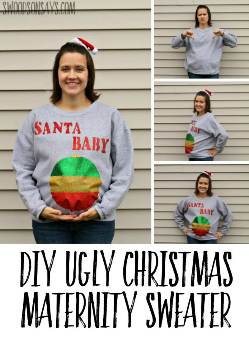 Check out this easy, no sew maternity ugly christmas sweater tutorial! Enjoy your office party with a silly Christmas DIY shirt. #christmas #maternity #crafts