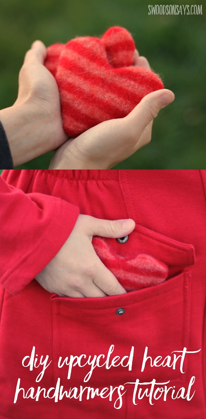 DIY Upcycled Heart Handwarmer Tutorial - use up wool scraps and upcycle yourself the perfect Valentine's Day gift or Christmas stocking stuffer!