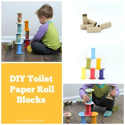 DIY blocks made from recycled toilet paper rolls, a cheap toddler toy tutorial.