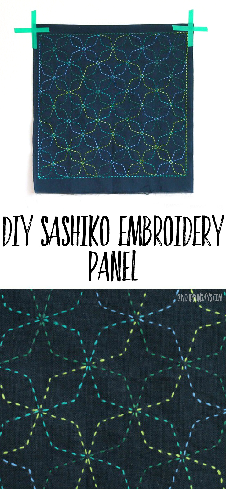 Looking for an embroidery project for beginners? Sashiko is a really simple, fun way to stitch and this shows a preprinted panel that was stitched up sashiko style.