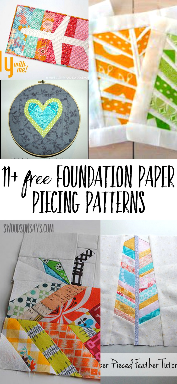A list of free foundation paper piecing patterns! Download these PDF paper piecing patterns and try out this beginner friendly sewing method.