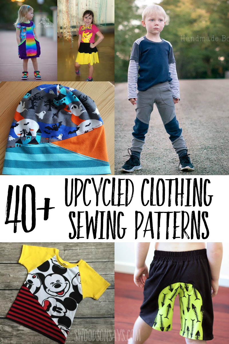 Use up your knit fabric scraps and sew one of these fun upcycled sewing patterns! Great upcycle potential with patterns and options for all ages. #sewing #upcycle