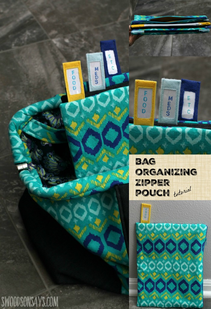 Keep your bag organized, with these vertical zipper pouches. They are extra firm so they're easy to unzip with one hand, and tabs at the top to keep you organized. An easy zipper pouch tutorial, with a clever twist! Swoodsonsays.com