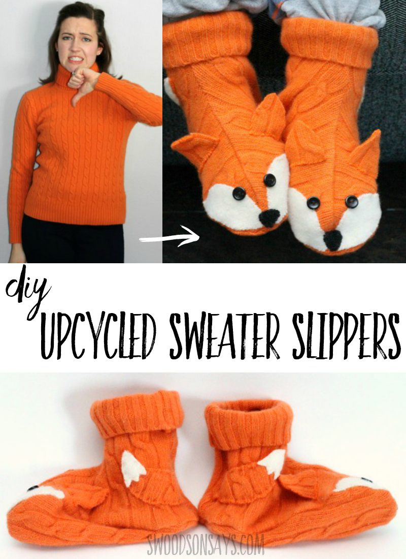 Upcycle outdated or hole filled wool sweaters into adorable slipper socks! Check out this recycled sweater slippers pattern with a fox face, super fun to sew for fall. #sewing #upcycle