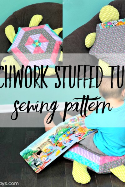 Patchwork stuffed turtle sewing pattern