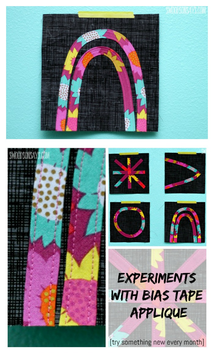 Trying out bias tape applique on quilt blocks, as a part of my annual Try Something New Every Month project.