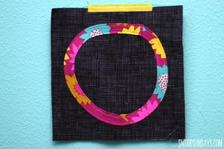 geometric bias tape applique quilt block