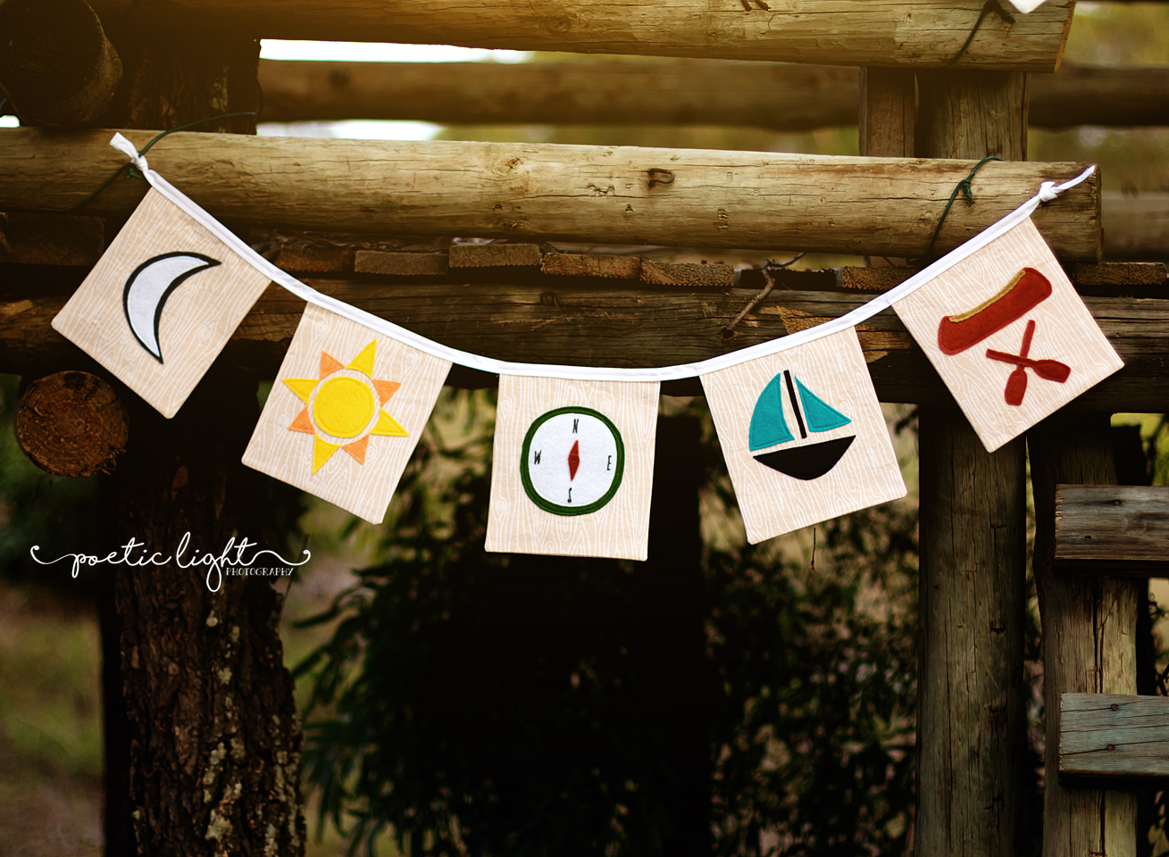 Adventure Flags - a PDF sewing pattern. Camping themed bunting.