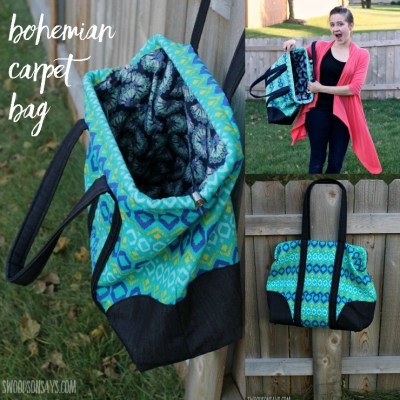 A carpet bag sewing pattern - the Bohemian Carpet Bag by Sew LIberated. A giant bag to sew - this is so fun for road trips! Pattern review in the post.