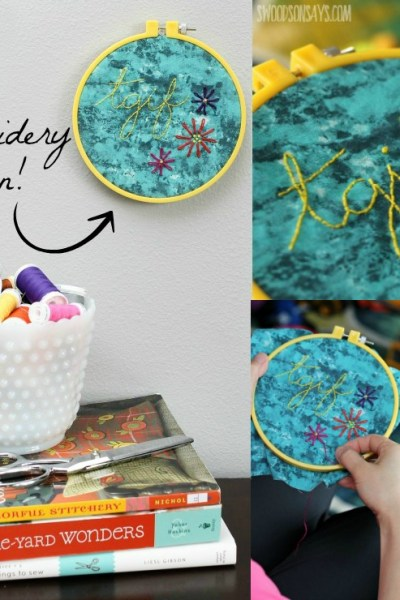 A fun, free embroidery pattern that is perfect for beginners - 'TGIF' in script with some simple flowers! Great DIY gift for a housewarming party or a baby shower.