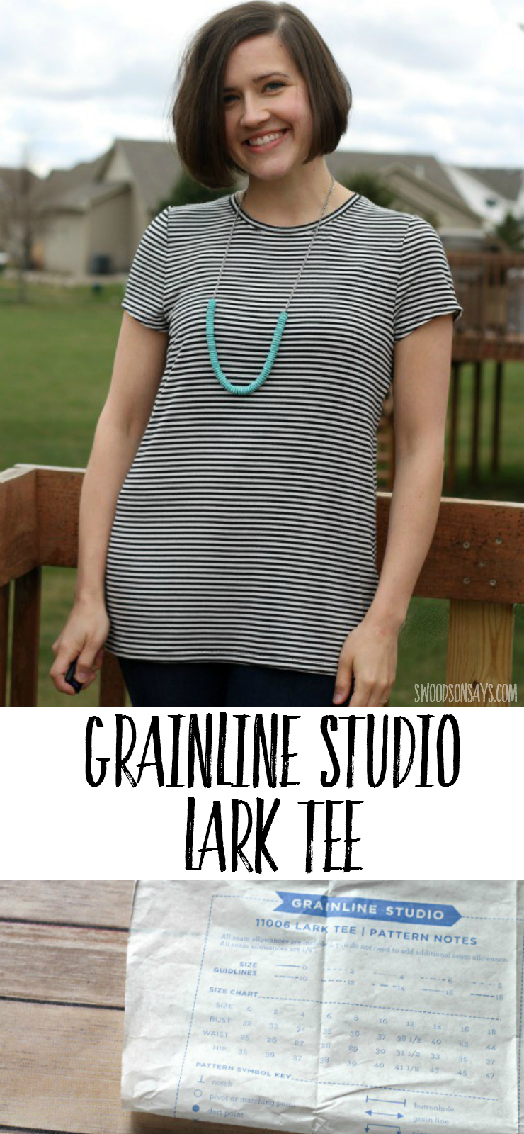A pattern review of the Grainline Studio Lark Tee - perfect t-shirt PDF sewing pattern for women and great beginner knit fabric sewing pattern!