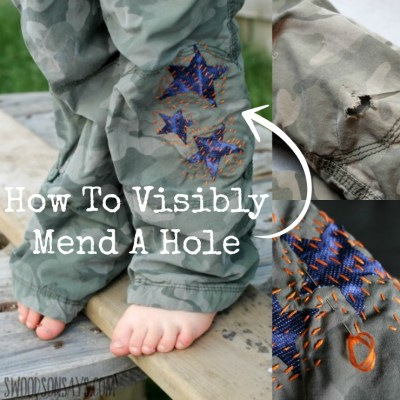 How to mend a hole - use Wonder Under, knit fabric scraps, and sashiko stitching to mend a pants hole. Visible mending is a fun trend - show off those stitches and give old clothes new life!