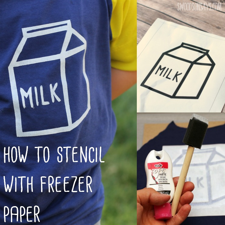 Looking to update a plain shirt? Upcycling and need to cover a stain? Fabric paint stenciling is easy with freezer paper! Check out this tutorial on how to use freezer paint, it is cheap and fast.