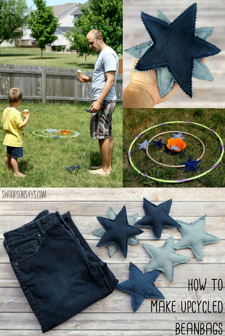 Turn those old jeans into fun beanbags - perfect for getting together in the backyard with a sweet ice cream treat! Check out this sponsored post for a free jeans upcycling pattern and tutorial. #ad #sweetertogether #collectivebias