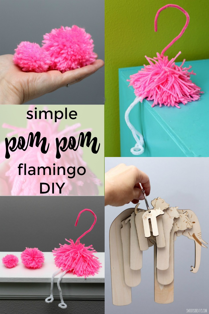 "Pom Pom Experiments - how to make a simple pom pom flamingo with pipe cleaners and yarn. Fun flamingo craft I made as a part of my annual ""try something new every month"" challenge!"