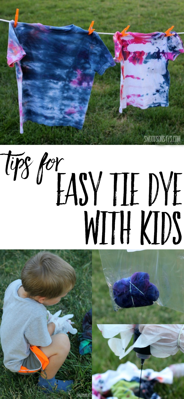 "Tie dye with kids can be easy and fun! Check out these tips for tie dyeing that makes a minimal mess - perfect summer craft for older kiddos and a great ""camp shirt"" idea."