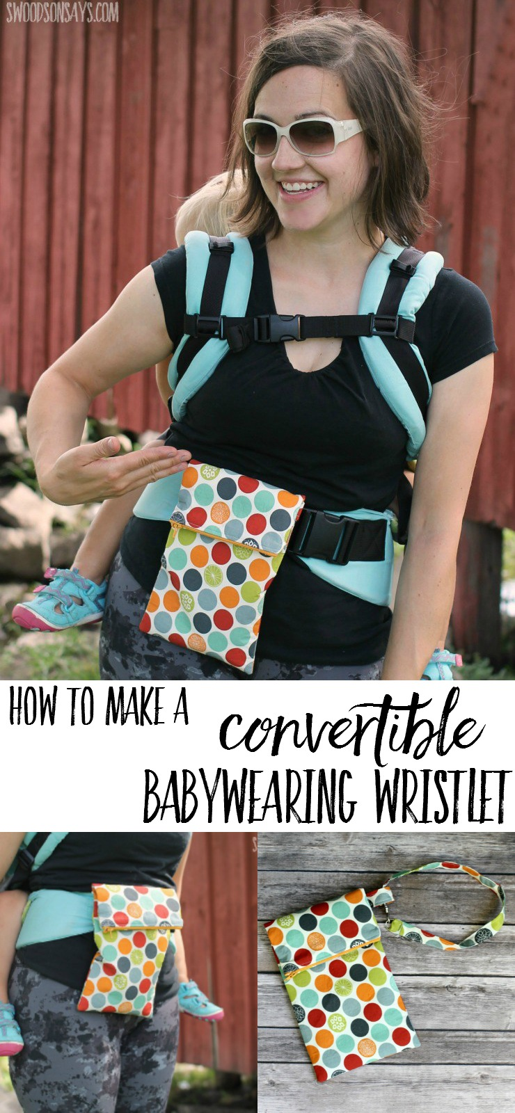 How to sew a convertible wristlet purse that is perfect for babywearing. Babywearing accessories can be expensive to buy, so sew your own bag and slid it on to your waistband for hiking!