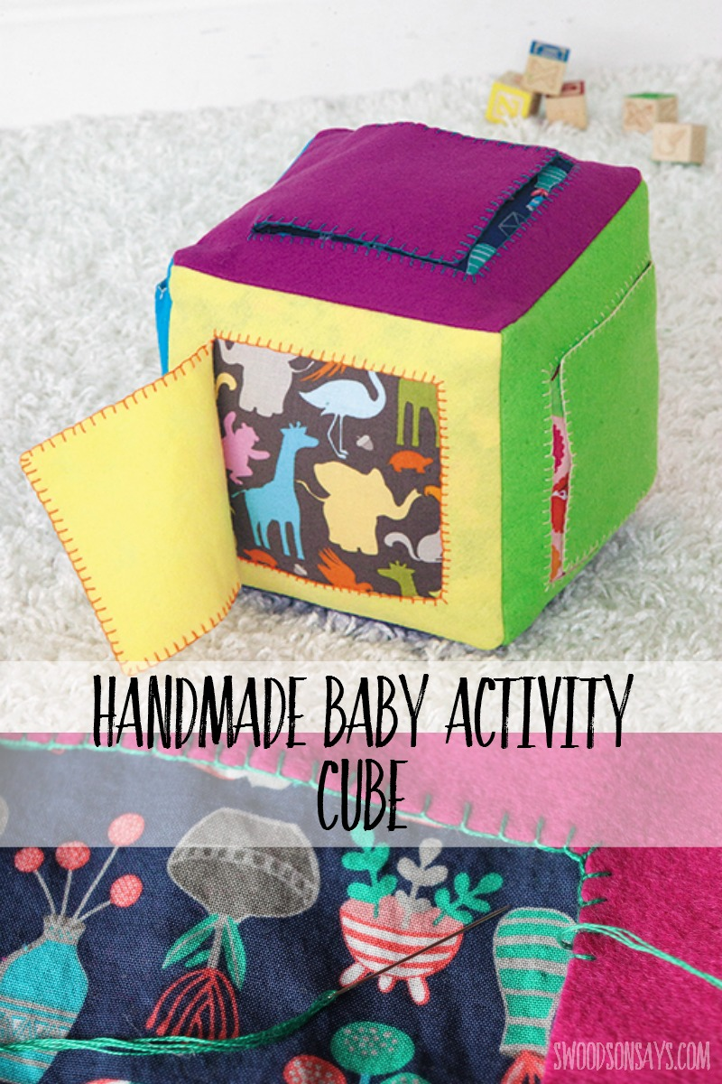 Soft wool felt and busy cotton print peeking out make this felt baby activity cube a hit! Things to sew for babies are so much fun - use your favorite scraps or coordinate with a matching baby quilt.