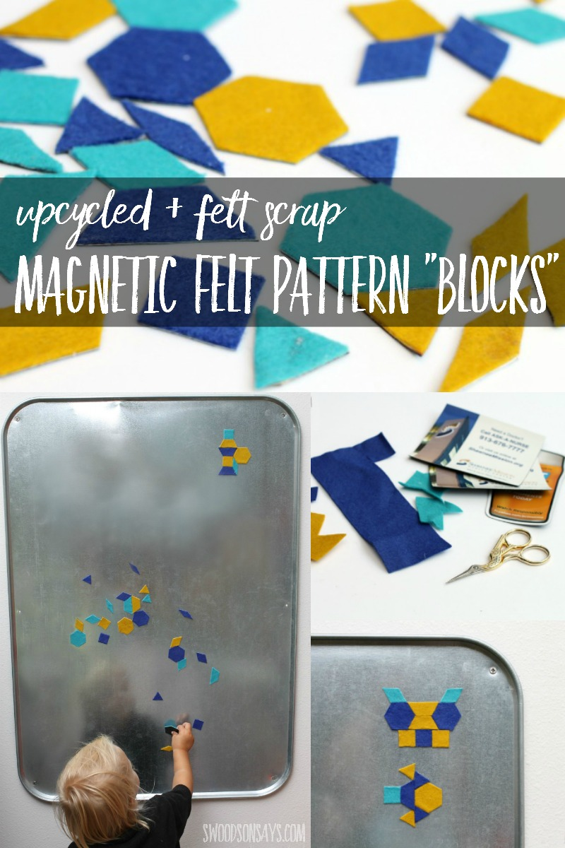 "Looking for ways to use up your pretty wool felt scraps? Tired of throwing away all those cheap promotional magnets? Learn how to make magnetic felt pattern ""blocks"" - the perfect handmade toy for preschoolers!"