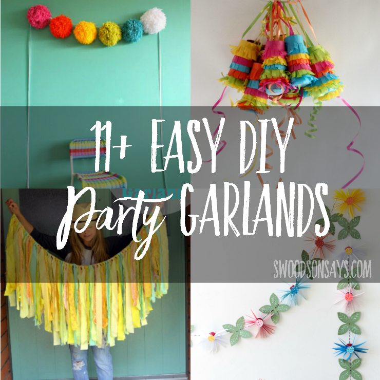 Easy DIY party decorations galore! A bunch of garland tutorials to decorate your next party, great ideas for DIY nursery decor too!