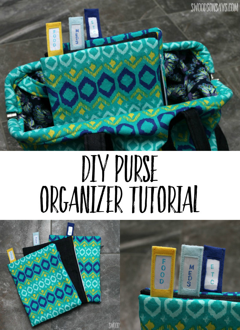 Keep your bag organized, with this DIY purse organizer tutorial. They are extra firm so they're easy to unzip with one hand, and tabs at the top to keep you organized. An easy zipper pouch tutorial, with a clever twist! Swoodsonsays.com #sewing #zipperpouch